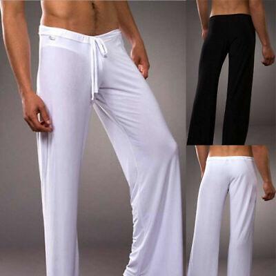 UK Mens Long Pants Loose Drawstring Plain Casual Home Trousers Yoga Sports Gym