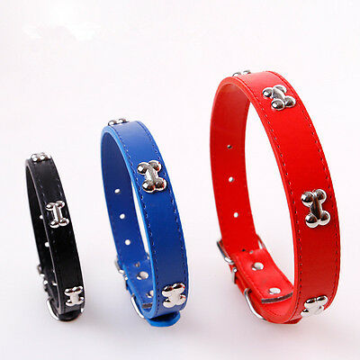 (Adjustable Durable Dog Bone Collar PU Leather Pet Puppy Cat Strap Collar 2018 )