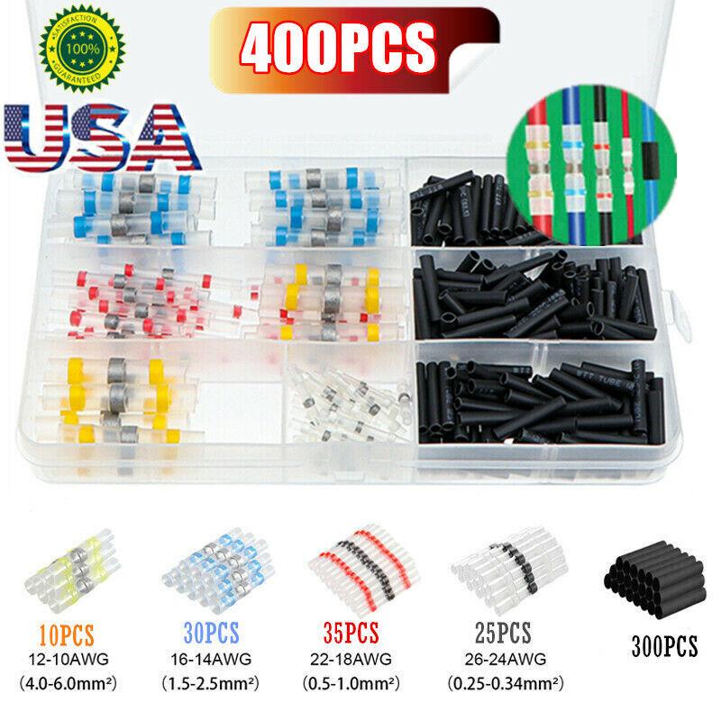 400PCS Waterproof Solder Seal Heat Shrink Wire Butt Terminal Connectors Kit Set