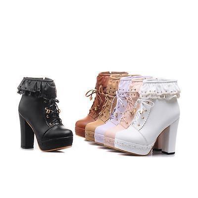 Süße High Heel (Neu süß Lolita Pumps high heel Damen Schnüren schuhe Lila Stiefel Weiß cosplay)