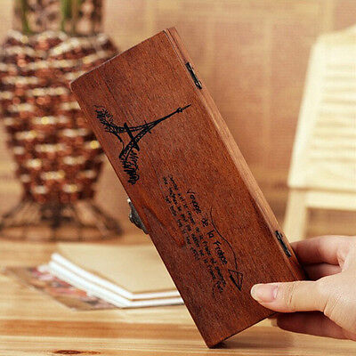 Retro Wood Wooden Pen Pencil Box Case Holder Stationery Vintage Eiffel Tower TH