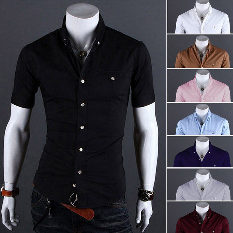 Men Short Sleeve Button Down T-shirt Tops Slim Fit Casual Dress Stylish Shirts