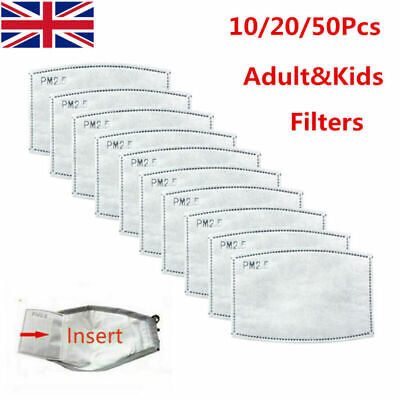 UK Face Mask PM2.5 Activated Carbon Filter Replace Breath Insert Mask Filter