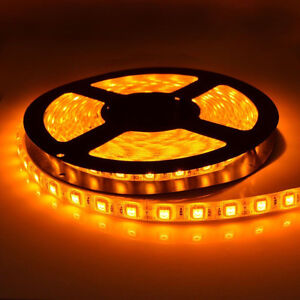 5050smd Waterproof Yellow / Amber Color LED Strip Light 16.4ft