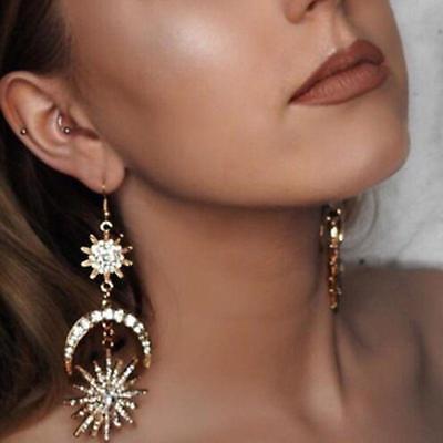 Boho Gold Star Sun Moon Crystal Rhinestone Drop Dangle Stud Earrings Jewelry Set](Gold Star Jewelry)