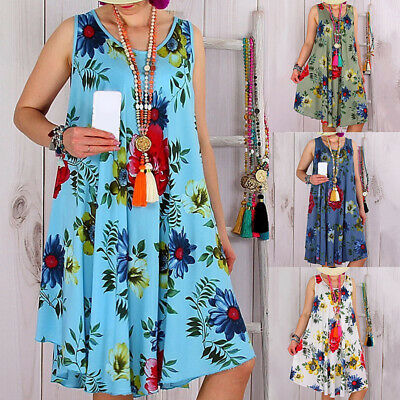 Women Summer Sleeveless Loose Floral Dress Lightweight Cocktail Party Tank Dress