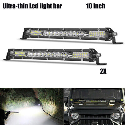 2X 10 Inch Ultra Slim LED Light Bar Combo Beam Single Row Wholesale Best