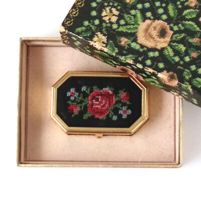 Vintage Avon Cosmetics Unforgettable Petit Point Pill Box with Original Box