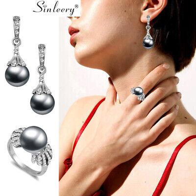 Gray Pearl Rhinestone Ring Drop Earring Jewelry Set Wedding Fashion Jewelry - Grey Drop Pearl Set