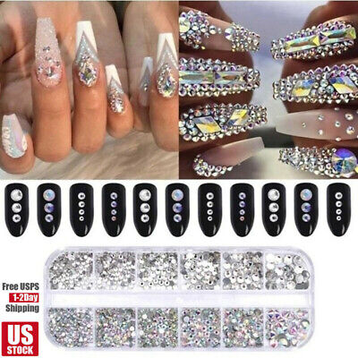 12 Box Crystal Rhinestone Jewelry Glass 3D Glitter Diamond Gem Nail Art Decors