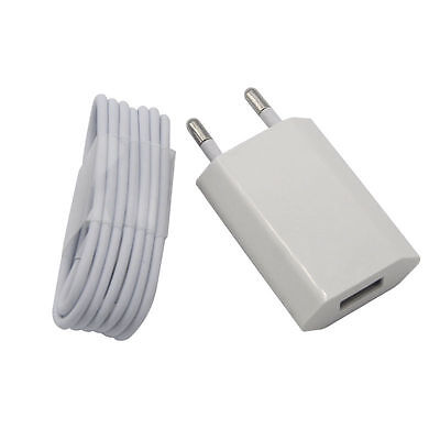 European EU EURO Partition off Power Charger Plug for iPhone 6S 7 PLUS SE 5S & USB Cable