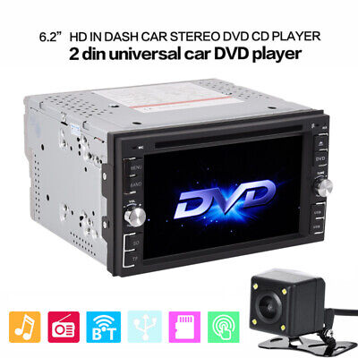 "Car Stereo Radio in Dash DVD Player 6.2"" Touch Screen BT 2 DIN + Backup Camera"