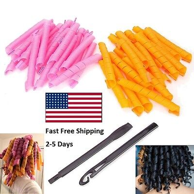50CM 36PCS Hair Curlers Twist Spiral Circle Curl Ringlets Magic Rollers Styling