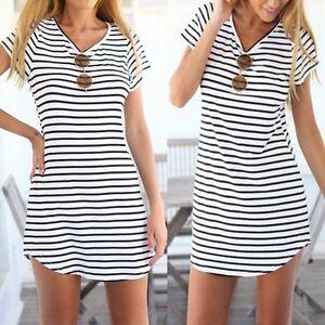 Women Summer Beach Dress Short Sleeve Stripe Long Tops T Shirt Mini Sundress Tee
