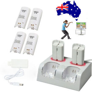 Dual Charger Dock For Nintendo Wii Controller + 4 Rechargeable Battery Pack AU