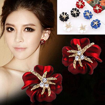 (Fashion Women Lady Elegant Flower Crystal Rhinestone Ear Stud Earrings Jewelry)