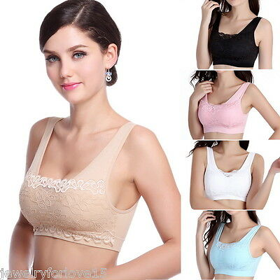 US Women Padded Push Up Sports Yoga Bra Lace Stretch Crop Top Low-cut Vest //