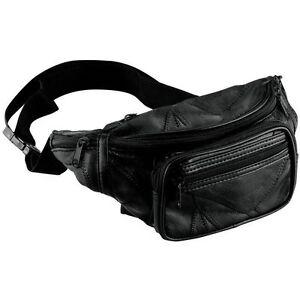 NEW Black Leather Fanny Pack- Mens Waist Belt Bag -Womens Purse Hip Pouch Travel