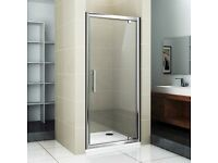 80 x 80cm PIVOT HINGE REVERSIBLE 6mm GLASS SHOWER DOOR WITH PU SHOWER TRAY