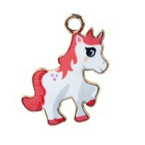 +Unicorn+Charms+Pendant+Red+%26+White+Gold+Plated+Pack+of+10