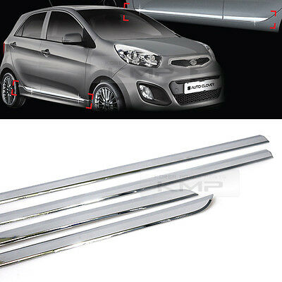 Chrome Side Skirt Accent Door Under Step Molding Trim For KIA 2011-2017 Picanto