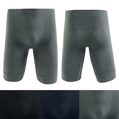 Mens Long Leg Thermal Seamless Microfiber Boxer Briefs Sports Compression Shorts