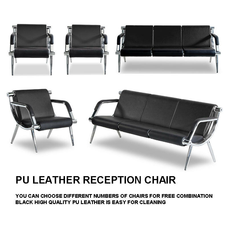 Superb Details About Waiting Room Chair Reception Pu Leather Office Airport Bank Bench Guest Sofa Caraccident5 Cool Chair Designs And Ideas Caraccident5Info