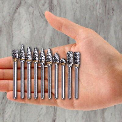 10pcs 18 Tungsten Carbide Burr Rotary Drill Bits Tools Cutter Files Set Shank