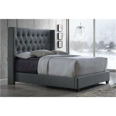 Bowery Hill King Upholstered Platform Bed in Gray