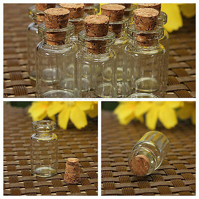 Small Glass Jars Bulk (1x 0.5/1/2ML Mini Small Cork Stopper Glass Vial Jars Containers Bottle Bulk)