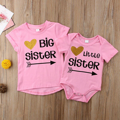 2019 Little Sister Baby Girls Romper Big Sister T-shirt Tee Matching Outfits US