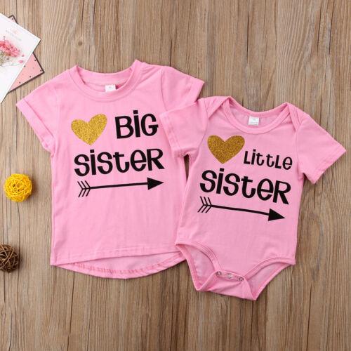 Little Sister Baby Girls Romper Big Sister T-shirt Tee Match