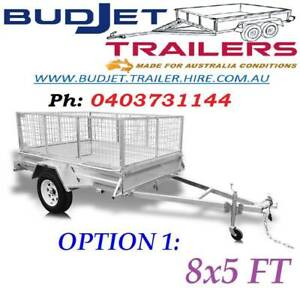 TRAILER HIRE RENTAL BRISBANE QLD 8 x 5 FT CAGED FROM $55 PER/DAY
