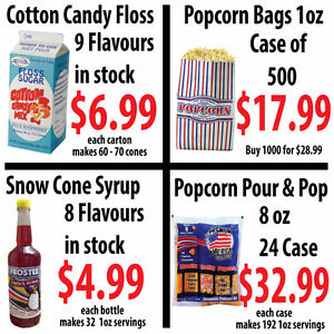 Concession Supplies, Cotton Candy, Popcorn, Snow Cone Supplies