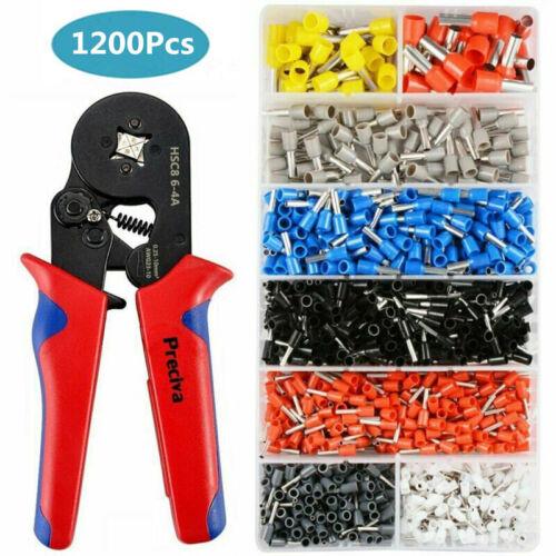 1200 teilig Set Crimpzange Aderendhülsenzange 0,25-10mm² Kabelschuhe Presszange