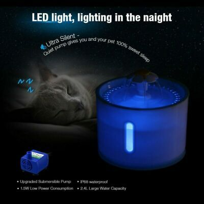2.4L LED Light Automatic Pet Cat Water Fountain Drinking Dispenser Ultra Silent