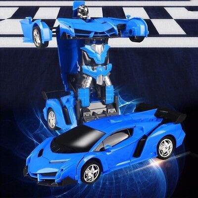 Gesture Sensing Remote Control Robot One-Button Transformation Car Toy Kids Gift