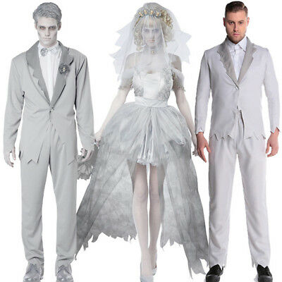 Halloween Costume Adult Women Men Cosplay Ghost Bride Husband And Wife Demon Vam](Devil Bride Halloween Costume)