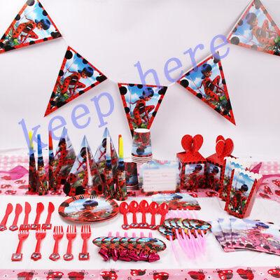 132× Miraculous ladybug Geburtstag Party Dekorationen Tischdecke Gefallen Teller