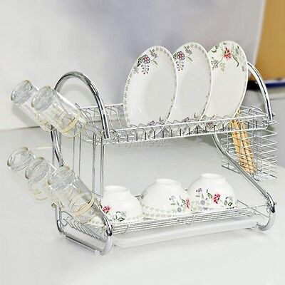 Kitchen Dish Cup Drying Rack Holder Organizer Drainer Dryer Tray Cutlery 2 Tiers