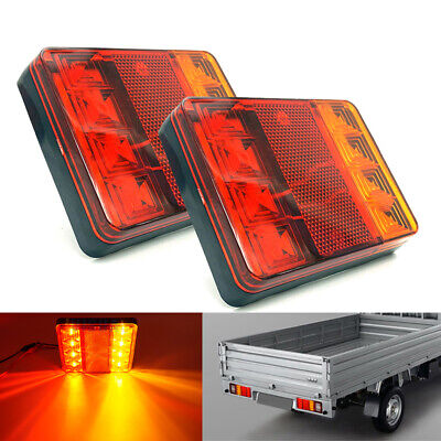 2X 12V LED Rear Tail Lights Turn Brake Lamp For Trailer Van Caravan Truck Lorry