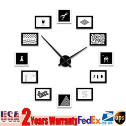 PICTURE WALL CLOCK 120*120CM 12 PHOTO MODERN FRAME HOME FAMILY DECOR