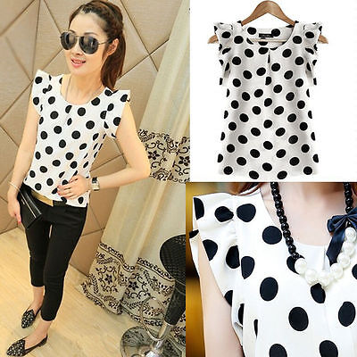 Fashion Women Casual Chiffon Polka Dot Blouse Short Sleeve T-shirt Summer Tops (Fashion Women Casual Chiffon)
