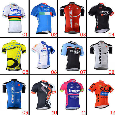 Fashion Mens Riding Tops Wear Cycling Short Sleeve Jerseys Shirt 3 Pockets Gear