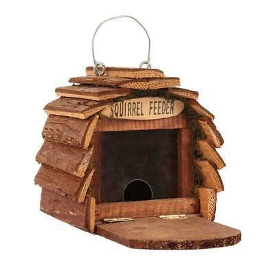 Hanging Wooden Squirrel Feeder House with Feeding Platform