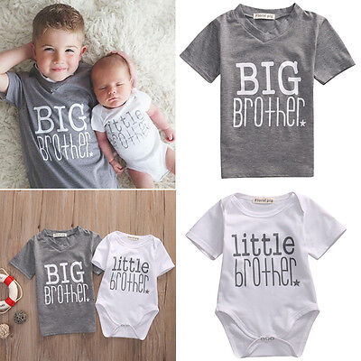 Newborn Baby Boy Little Brother Romper Bodysuit Big Brother T-shirt Tops Clothes