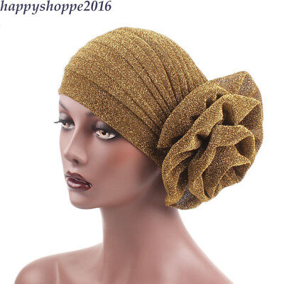 Shiny Women Turban Flower Cap Bandana Glitter Muslim Hijab Hat Headscarf (Glitter Turban Hat)