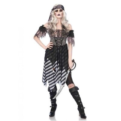 Adult Ghost Pirate Costume (GHOST PIRATE Adult Female Zombie Castaway Cosplay Halloween Costume-M    )