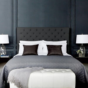 Atelier - Charcoal - Upholstered Tufted Headboard - Queen Size Edmonton Edmonton Area image 1