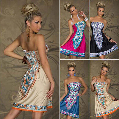 Women Summer Strapless Bohemian Print Casual Dress Wrapped Chest Waist Dress